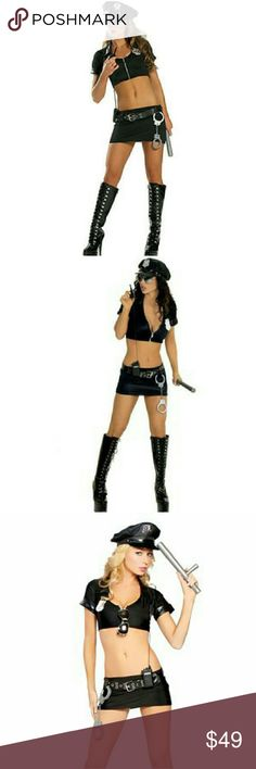 {Roma} 9-piece cop costume Roma * Sexy Adult Police Officer / Cop  * Size Small / Medium (see photo #4 above) * 9 Piece Halloween Costume - Zipper Front Top - Skirt - Belt - Hat - Badge - Handcuffs - Baton  - Walkie-Talkie - Mirrored Aviator Sunglasses * BRAND NEW IN PACKAGE  * Role Play * Dress Up * Lingerie * Dance * Naughty * Dirty * Accessories * Uniform * BDSM * Roma Tops Crop Tops