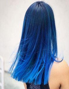 Blue Ombre Hair, Ombre Hair Color, Hair Color Balayage, Blue Tips Hair, Blue Hair Highlights, Beautiful Hair Color, Cool Hair Color, Hair Color Ideas, Vivid Hair Color