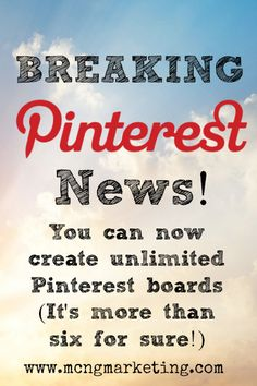 Breaking News! Unlimited Secret Boards on - MCNG Marketing Pinterest Advertising, Pinterest Marketing, Advertising Ideas, Business Marketing, Social Media Marketing, Digital Marketing, Secret Boards, Marketing Training, Article Writing