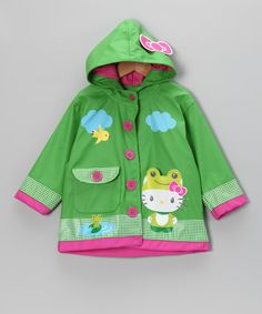 Take a look at this Green Hello Kitty Froggy Raincoat - Toddler & Kids by Western Chief on #zulily today!