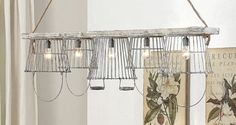 Our beautiful country chandelier brings rustic metal baskets together creating one of the most beautiful, unique and sought after chandeliers. For more country decor ideas visit Antique Farmhouse. Industrial Farmhouse Decor, Antique Farmhouse, Farmhouse Lighting, Farmhouse Chic, Industrial Décor, Primitive Lighting, Rustic Lighting, Industrial Lighting, Lighting Ideas