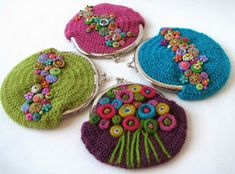 Crochet inspiration and idea. No pattern but looks like it is worked in rounds with treble crochet stitches and increasing evenly around. I love all of the decorative embellishments. Crochet Crafts, Yarn Crafts, Crochet Projects, Mode Crochet, Knit Crochet, Loom Knit, Crochet Coin Purse, Confection Au Crochet, Crochet Handbags