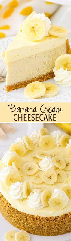 Cheesecake Banana Cream Cheesecake - a creamy banana cheesecake with banana bavarian cream!Banana Cream Cheesecake - a creamy banana cheesecake with banana bavarian cream! Doce Banana, Banana Cream Cheesecake, Chocolate Cheesecake, Easy Desserts, Dessert Recipes, Easy Snacks, Health Desserts, Bon Dessert, Banana Dessert