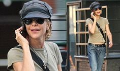 She found fame as the quintessential girl-next-door in such iconic films as When Harry Met Sally and Sleepless In Seattle.  But Meg Ryan sported a decidedly more boyish look on Friday.  The 51-year-old was seen covering up her slender frame in very baggy 'boyfriend' jeans as she walked around New York City on her own.