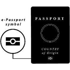 Depiction of e-Passport symbol on front of passport