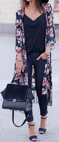 Total black + flower kimono.