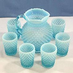 Fenton hobnail blue opal lemonade set