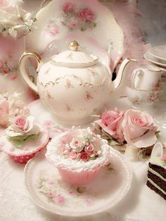 Tea Set with Pastries. You can find this at our Merrick Tea House. Tea Set with Pastries. You can find this at our Merrick Tea House. Decoration Shabby, Floral Decorations, Teapots And Cups, My Cup Of Tea, Rose Cottage, Chocolate Pots, Vintage Shabby Chic, Vintage Floral, Vintage Flowers