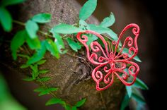 Wire Art: Intricate red wire butterfly by Sarah Jansma Wire Art, Various Artists, Canvas Art, Butterfly, Plants, Red, Blue, Design