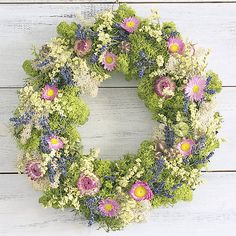 Summer wreath from moss and dried flowers, lavender Summer Wreath, Dried Flowers, Lavender, Floral Wreath, Wreaths, Natural, Home Decor, Dry Flowers, Homemade Home Decor