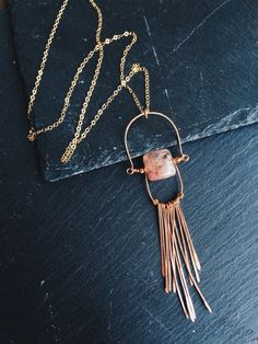 Sunstone and Copper Necklace Copper by ShopSugarPineDesign