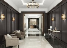 The London, Marylebone pietra grey polished floors combined with calacatta lincoln featured finishes. Entryway Light Fixtures, Entryway Lighting, Luxury Homes Interior, Luxury Apartments, Interior Design, Entrance Hall Decor, Entryway Decor, Elegant Homes, Commercial Interiors