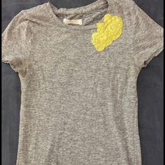 J.Crew Top Super cute, like new top. Marled gray t-shirt with beautiful floral design on one side. Material is a stretchy soft fabric. J. Crew Tops Tees - Short Sleeve
