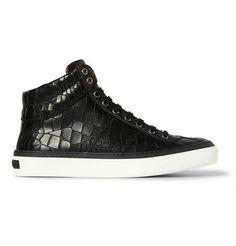 Jimmy Choo Belgravia Crocodile-Embossed Leather High Top Sneakers | MR PORTER