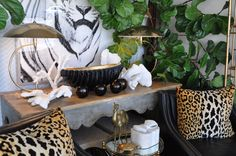 Animal print abounds at #PalmBeach #Mecox #interiordesign #MecoxGardens #furniture #shopping #home #decor #design #room #designidea #vintage #antiques #garden