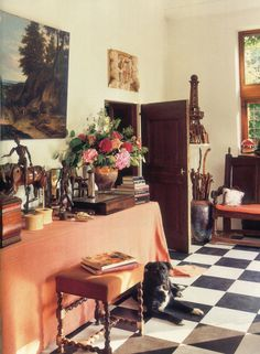 Mudroom/Entry - Belgian estate designed by Axel Vervoordt...and beautiful black Lab xo