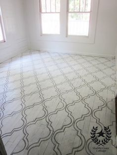 Painted wood floor with stencil done with Annie Sloan Paris Grey Chalk Paint. Shabby Coast Cottage