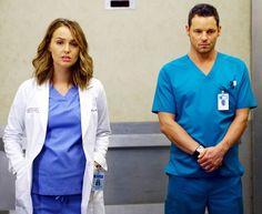 Camilla Luddington as Jo and JUSTIN CHAMBERS as Alex on Greys Anatomy
