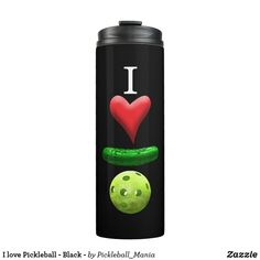 I love Pickleball - Black - Thermal Tumbler