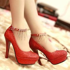 Red High heels, shoes