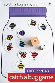 Catch a Bug Game! Free printable game. Learn colours and counting with game options for all ages.