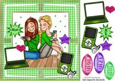 WOW NICE Girls texting with there green gadgets on Craftsuprint - Add To Basket! Shoe Designs, Quick Cards, Texting, Greeting Cards Handmade, Cool Girl, Decoupage, Card Making, Gadgets, Basket