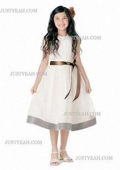 A-Line Scoop Knee-Length Satin Chiffon Flower Girl Dress