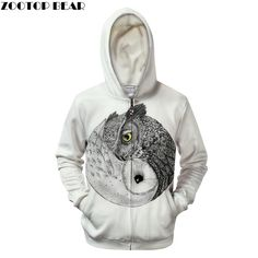 bef202a3e785b Ying Yang Owl Prints Hoodie 3D Zip White Mens Hoodies Mens