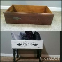 Such a cute way to repose old dressers Refurbished Furniture, Repurposed Furniture, Shabby Chic Furniture, Furniture Makeover, Painted Furniture, Chair Makeover, Recycled Dresser, Distressed Furniture, Furniture Projects