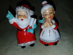 Vintage Mr. & Mrs. Santa Clause Salt/Pepper by VintageBarnYard