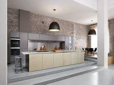 EEN INDUSTRIËLE LOOK • als je voor een industriële sfeer in huis, dan mag de keuken natuurlijk niet ontbreken. Of misschien wil je juist de keuken gebruiken als stoer accent in je basic interieur. Deze 5 ingrediënten zijn essentieel voor een industriële look | An industrial kitchen with bricks on the wall and a dining table | Bron: in samenwerking met inspiratiehuis 20|20 #keuken #industrieel #kitchen #industrial
