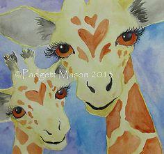 Padgett Mason Original Watercolor Giraffe Nibblefest Nfac Hearts Love Mom Mother   eBay