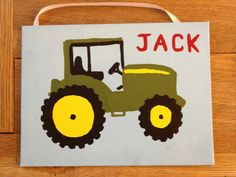 Boys room John Deere green tractor painting canvas wall decor for Baby Kids Children nursery on Etsy, $18.00