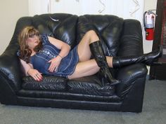 "My new denim mini dress and Black Knee High Leather Boots. Just a light summer run around town outfit. Just resting on the leather couch makes a girl feel ""Sexy""! Does this pose look allright to anyone? Black Knees, Leather Gloves, Red Shoes, Dream Dress, Lady, Leather Couches, Poses, Denim, Awesome"