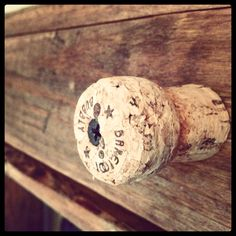 Wine station drawer pulls from recycled champagne corks!
