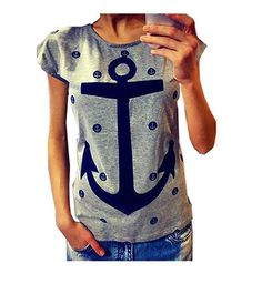 Letter Print Anchor Slim Cotton Casual Tee Shirts