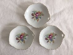 Vintage floral trinket dishes Set of 3 Pink Shabby Chic   Etsy Shabby Chic Jewelry, Vintage Jewelry, Vintage Floral, Vintage Decor, Grace Home, Flower Decorations, Pretty In Pink, Gifts For Her, Decorative Plates