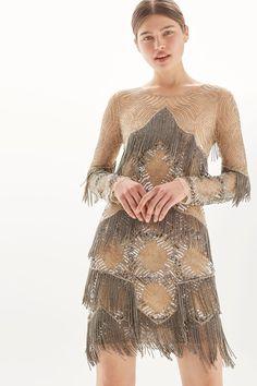 Fringe Embellished Shift Dress