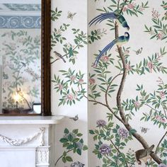 A detail from the jaw-dropping Chinese wallpaper at Pitzhanger Manor in London, hand-painted by a team of three artists in the winter of 2018. Chinese Wallpaper, Chinoiserie Wallpaper, Great Friends, Muse, Hand Painted, Artists, London, Detail, Winter