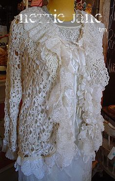 Hand Crocheted Wool Blend Chubby.   One Size Capelet Fits Most.   Elbow length with organza adjustable neck ribbon   Larger s...