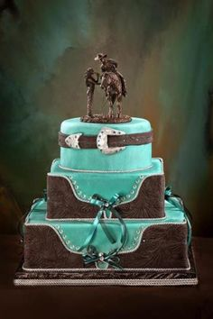 Awesome wedding cake...gorgeous! could never be mine Jeremys not exactly a cowboy... But still awesome
