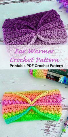 Make a cozy ear warmer. Crochet ear warmer pattern - crochet headband pattern - A Crafty Life warmer Make a Cozy Ear Warmer Knitting Projects, Crochet Projects, Knitting Patterns, Crochet Patterns, Free Crochet Headband Patterns, Crochet Headband Tutorial, Crochet Ideas, Crochet Gifts, Cute Crochet