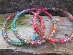 Boho Copper and Sari Silk Threads Bangles By by EarthMagicAndRocks