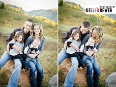 Gray/Blue/Black/White    I love the combination of shades of gray, mixed prints and textures of each fabric in this family photo!    © Kelli Brewer Photography  http://www.kellibrewer.com