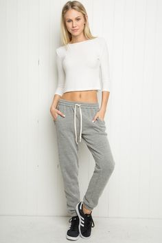 Super soft sweater fabric sweatpants in heather grey with a drawstring and elasticized waistband, side pockets and elastic cuffs. Cute Sweatpants Outfit, Harem Sweatpants, Teen Fashion, Fashion Outfits, Winter Fashion, How To Look Classy, Cute Outfits, Sweat Pants, Brandy Melville