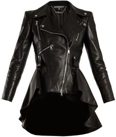 Genuine Leather Peplum Biker Jacket Lamb Skin slim Fit Leather Frock has a waist-defining peplum hem that mimics the shape of a fresh bloom. Wear it with everything from cropped pants to flouncy midi dresses. Leather Peplum, Biker Leather, Leather Jackets, Black Leather, Real Leather, Lambskin Leather, Alexander Mcqueen, Waterfall Jacket, Lady Biker