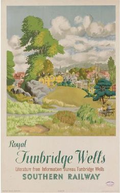 1947 Royal Tunbridge Wells, Source by gpai Train Posters, Railway Posters, British Travel, Travel Uk, Travel Tips, Tunbridge Wells, Southern Railways, Art Vintage, Train Art