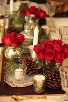 christmas parties, centerpiec, mercury glass, christmas tables, white christmas, red roses, christmas wedding, christma parti, holiday tables