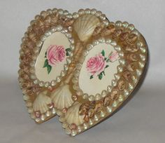 "Rare Pretty Vintage Double Heart Sea Shell Sailors Valentine 8"" Picture Frame"