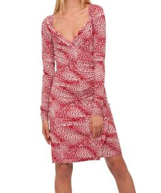 Take a look at this Red & White Small Leopard Sweetheart Draped Long-Sleeve Dress by KamaliKulture on #zulily today!